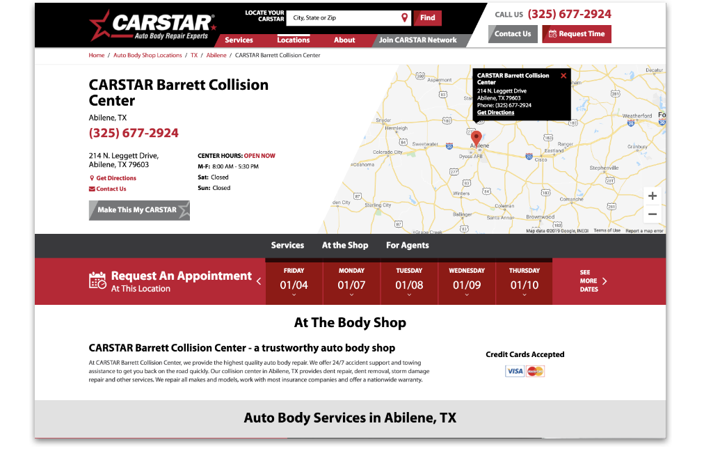 CARSTAR consumer website screenshot showing location with map and appointment request options