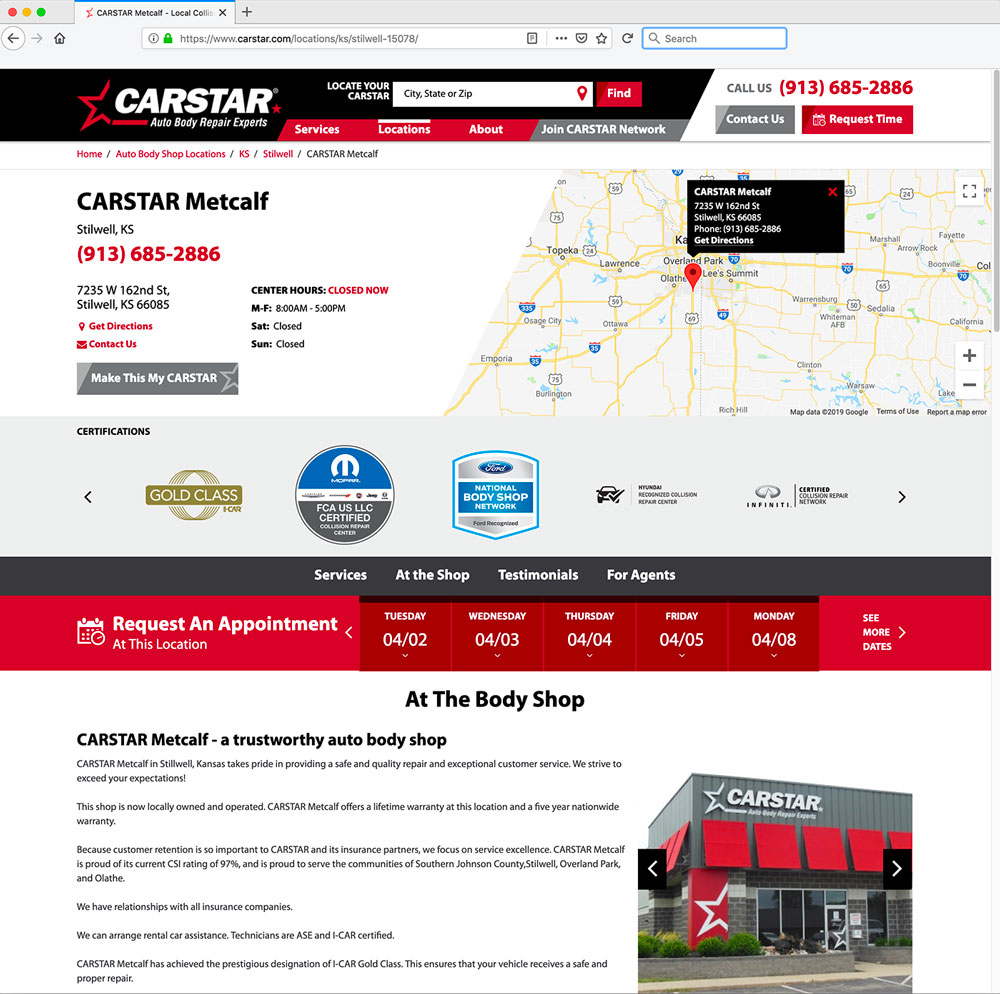 Screenshot of example CARSTAR webpage
