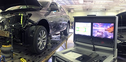 Car undergoing diagnostics