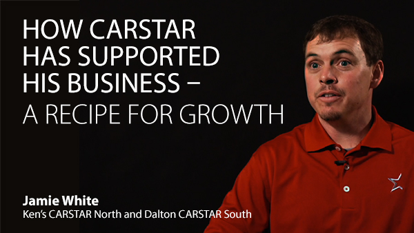 Video cover. Text: How Carstar Has Supported His Business - A recipe for growth. Jamie White, franchise owner.